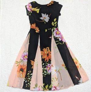 eShakti Floral Fit N Flare Cap Sleeve Pocket Dress